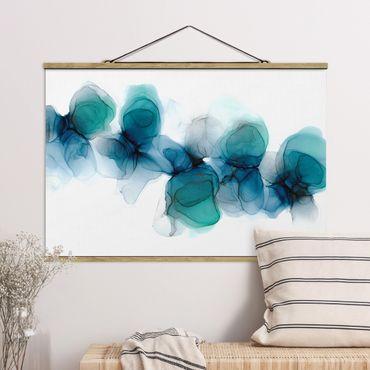 Foto su tessuto da parete con bastone - Fioriture selvagge in blu e oro - Orizzontale 3:2