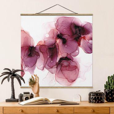 Foto su tessuto da parete con bastone - Fioriture selvagge in violetto e oro - Quadrato 1:1