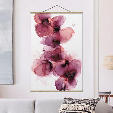 Foto su tessuto da parete con bastone - Fioriture selvagge in violetto e oro - Verticale 2:3