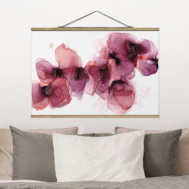 Foto su tessuto da parete con bastone - Fioriture selvagge in violetto e oro - Orizzontale 3:2
