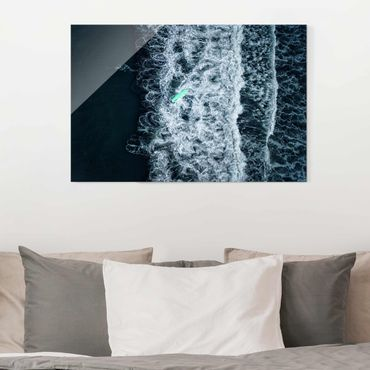 Quadro in vetro - Wipe Out sul mare tempestoso