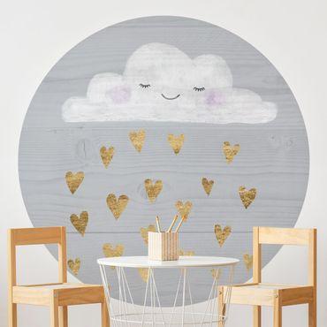 Carta da parati rotonda autoadesiva - Nube con il cuore d'oro