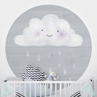 Carta da parati rotonda autoadesiva - Nuvola con gocce di pioggia d'argento