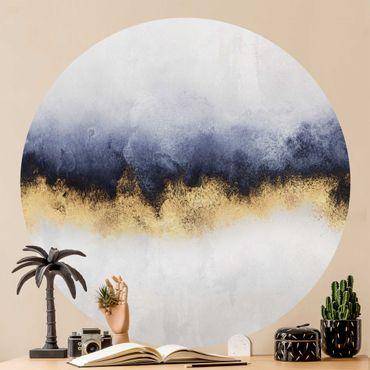 Carta da parati rotonda autoadesiva - Elisabeth Fredriksson - Cielo nuvoloso con oro