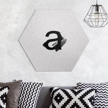 Esagono in Alluminio Dibond - Lettera desiderata acquerello nero