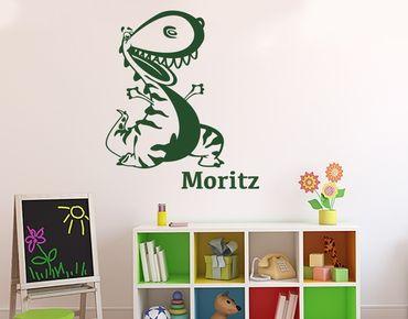 Adesivo murale con testo personalizzato - dinosauro