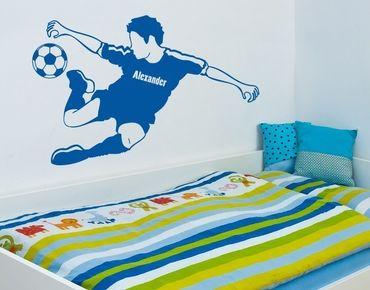Adesivo murale con testo personalizzato - calciatore