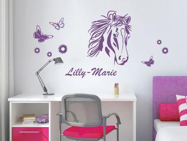 Adesivo murale con testo personalizzato - Cavallo con fiori