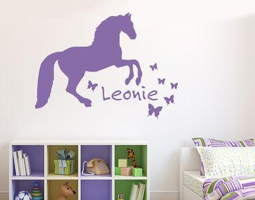 Adesivo murale con testo personalizzato - Cavallo con le farfalle