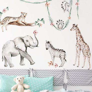 Tatuaggio murale multicolore - XXL Set di animali per l'Africa ad acquerello