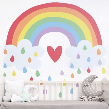 Tatuaggio murale multicolore - XXL Cuore Arcobaleno Colorato