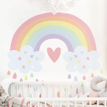Tatuaggio murale multicolore - XXL Cuore arcobaleno pastello