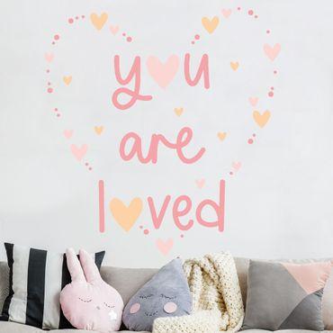 Tatuaggio murale multicolore - Sei amato cuore rosa