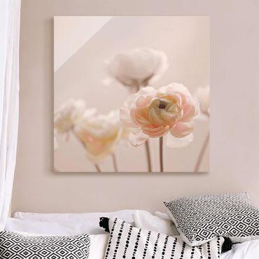 Quadro in vetro - Cespuglio delicato di fiori rosa