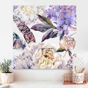 Quadro in vetro - Trama di fiori delicati  e piume boho in acquerello