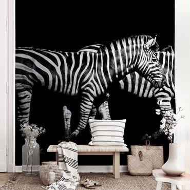 Carta da parati metallizzata - Zebra su sfondo nero