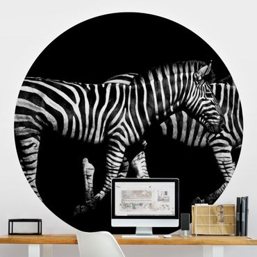 Carta da parati rotonda autoadesiva - Zebra in the Dark