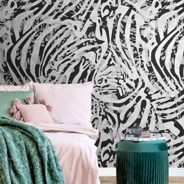 Carta da parati metallizzata - Motivo zebrato in tonalità di grigio
