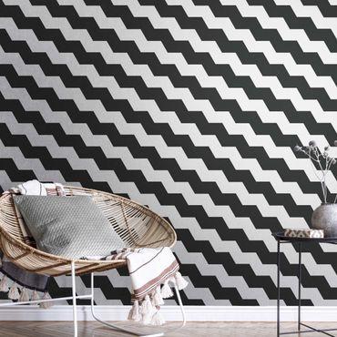 Carta da parati metallizzata - Zigzag geometrico in bianco e nero