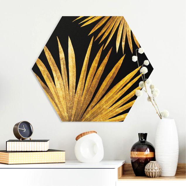 Esagono in forex - Gold - Palm Leaf On Black