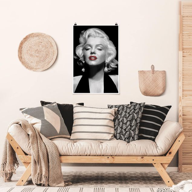 Poster - Marilyn Con Red Lips - Verticale 3:2