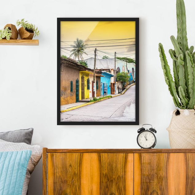 Poster con cornice - Colorful Street Sunset - Verticale 4:3