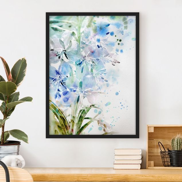 Poster con cornice - Watercolor Flowers Lilies - Verticale 4:3