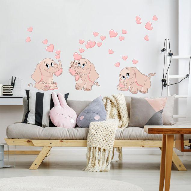 Adesivo murale bambini - Tre elefantini rosa con cuori