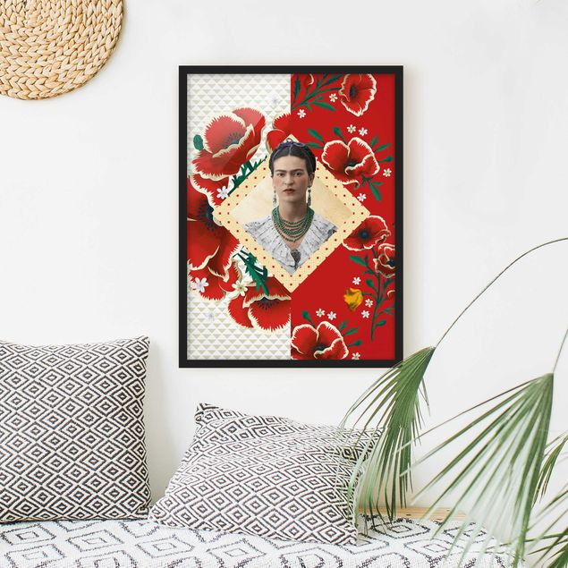 Poster con cornice - Frida Kahlo - Poppies - Verticale 4:3