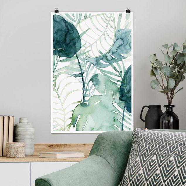 Poster - fronde di palma in acquerello II - Verticale 3:2