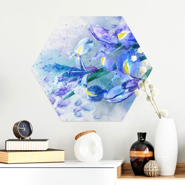 Esagono in Alu-dibond - Acquerello fiori dell'iride