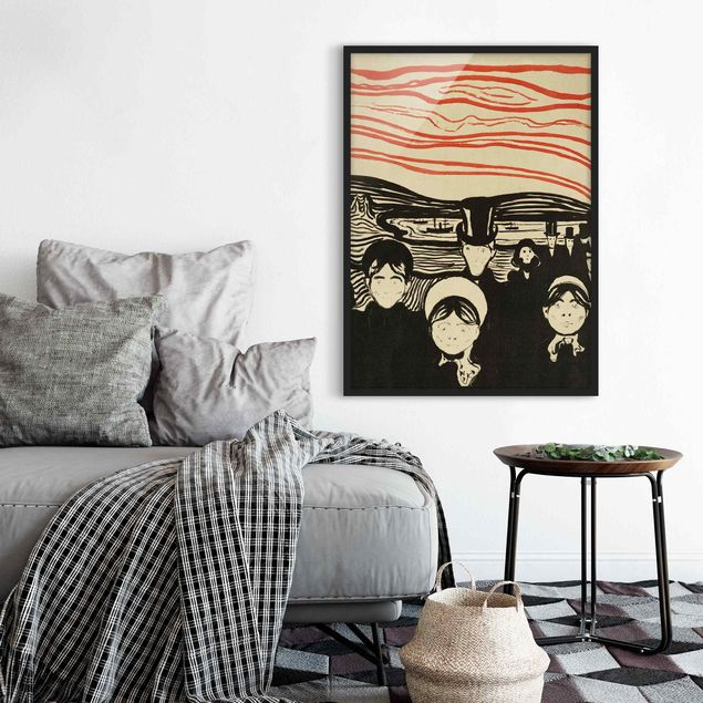 Poster con cornice - Edvard Munch - Anxiety - Verticale 4:3