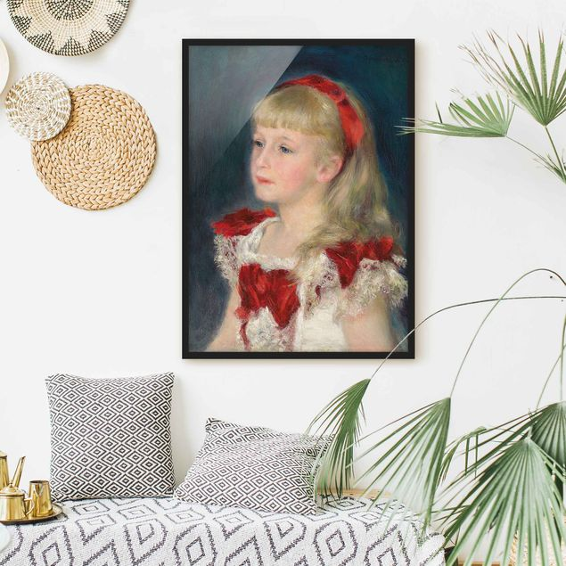 Poster con cornice - Auguste Renoir - Mademoiselle Grimprel With Red Ribbon - Verticale 4:3