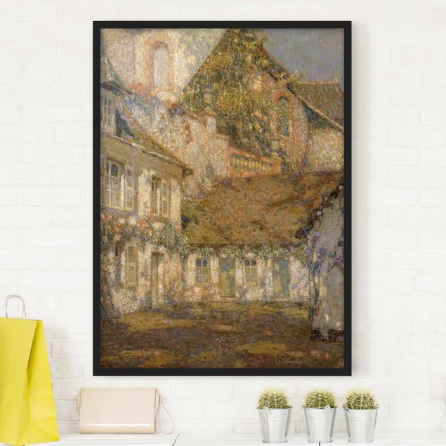 Poster con cornice - Henri Le Sidaner - Houses At The Foot Of The Church - Verticale 4:3