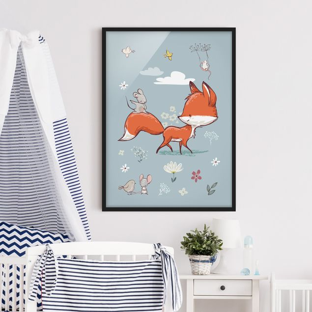 Poster con cornice - Fox And Mouse On The Move - Verticale 4:3