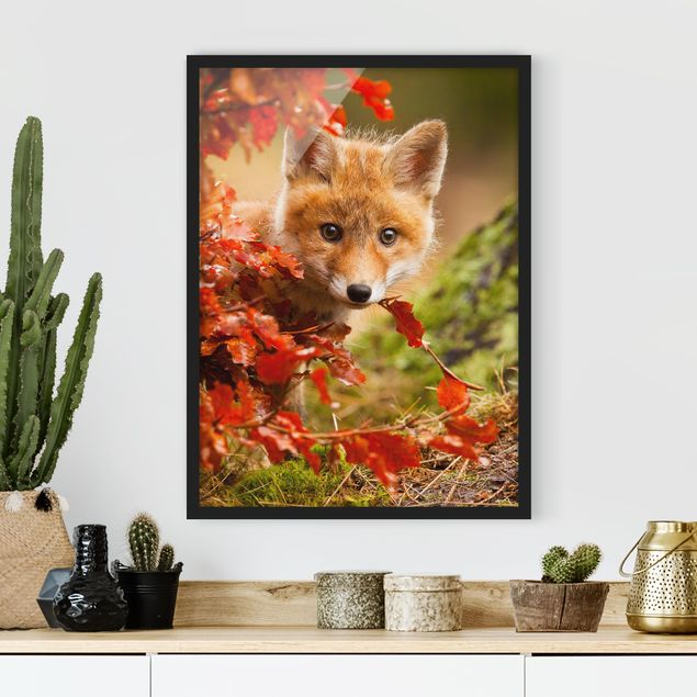 Poster con cornice - Fox In The Fall - Verticale 4:3