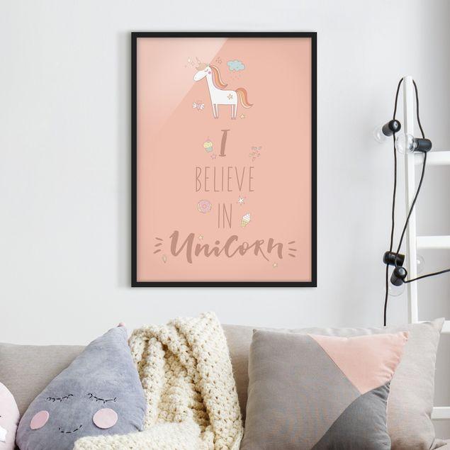 Poster con cornice - I Believe In Unicorn - Verticale 4:3