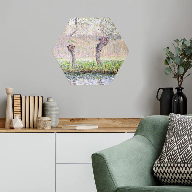 Esagono in Alu-dibond - Claude Monet - Primavera Willows