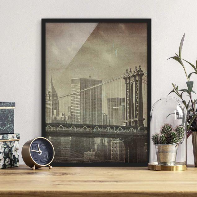 Poster con cornice - Vintage New York - Verticale 4:3