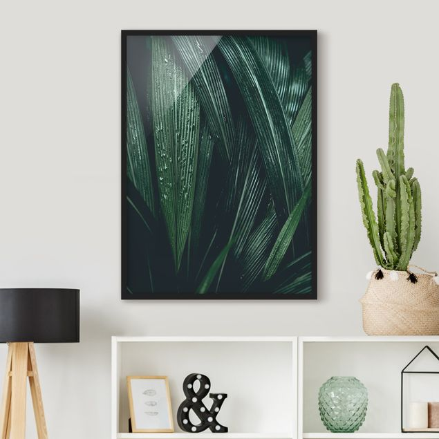 Poster con cornice - Green Palm Leaves - Verticale 4:3