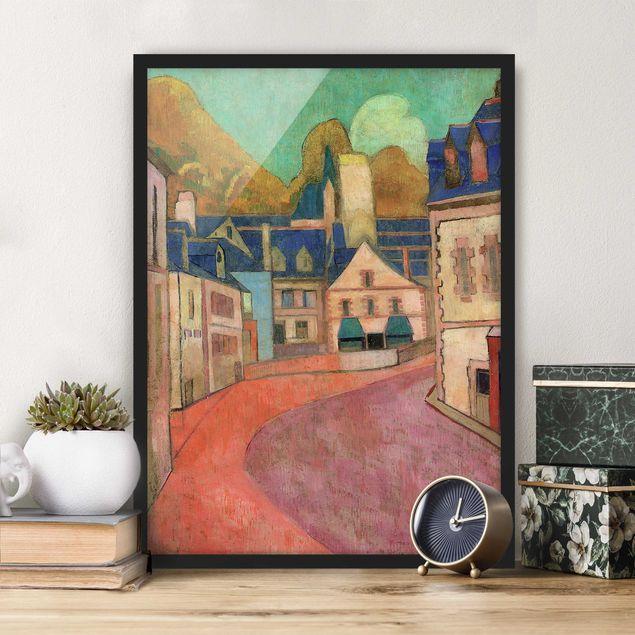 Poster con cornice - Emile Bernard - La Rue Rose À Pont-Aven - Verticale 4:3