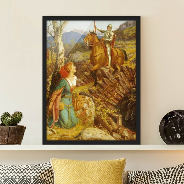 Poster con cornice - Arthur Hughes - The Overthrowing Of The Rusty Knight - Verticale 4:3