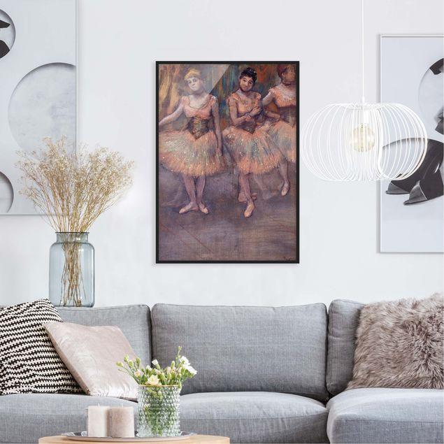 Poster con cornice - Edgar Degas - Three Dancers Before Exercise - Verticale 4:3