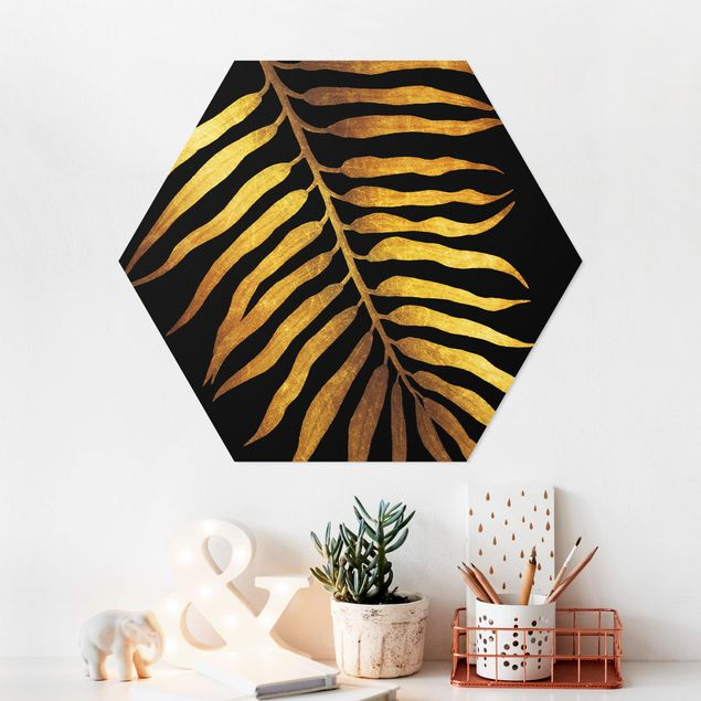 Esagono in forex - Gold - Palm Leaf On Black II