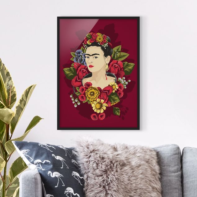 Poster con cornice - Frida Kahlo - Roses - Verticale 4:3