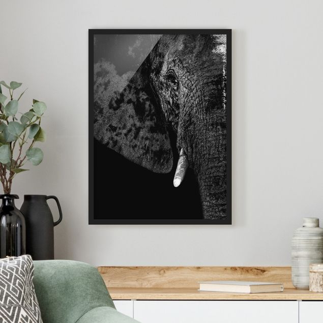 Poster con cornice - African Elephant Black And White - Verticale 4:3
