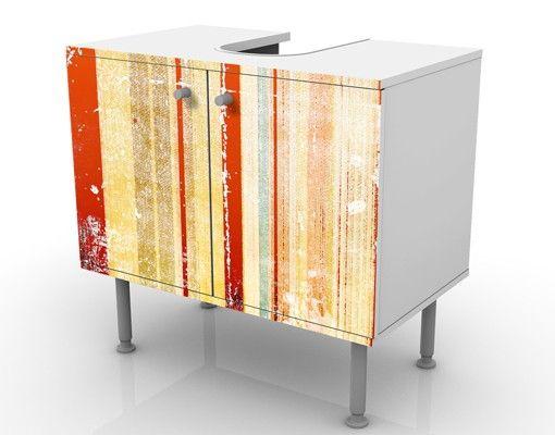 Mobile Sottolavabo Striato I Mobile Bagno Vintage Arancione E Beige