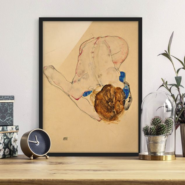 Poster con cornice - Egon Schiele - Nude With Blue Stockings Bending Forward - Verticale 4:3