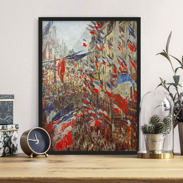 Poster con cornice - Claude Monet - The Rue Montorgueil With Flags - Verticale 4:3