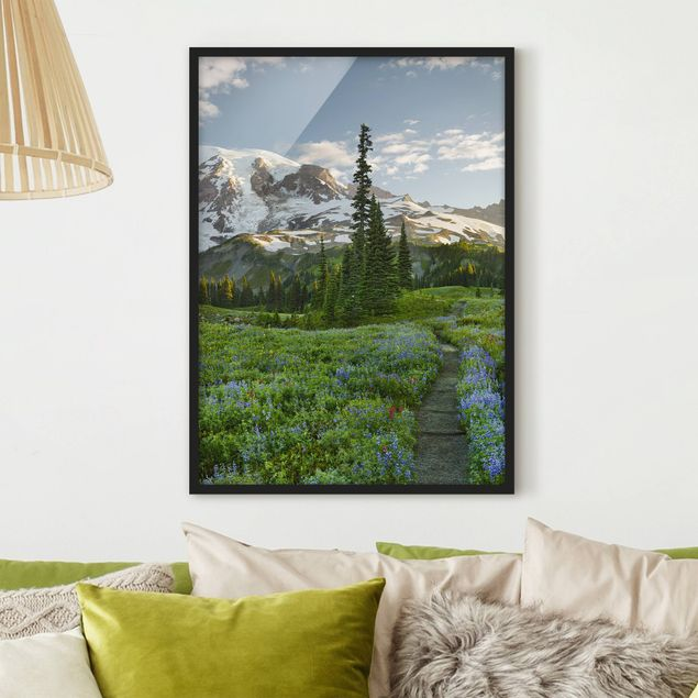 Poster con cornice - Mountain View Meadow Path - Verticale 4:3